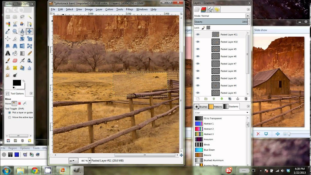 How to erase part of an image in gimp