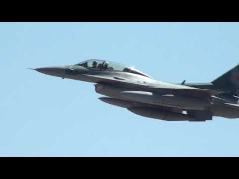 3 Indonesian Air Force Block 52 F-16s Takeoff from March