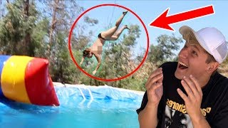 LAUNCHING my MOM 50ft (gone wrong)