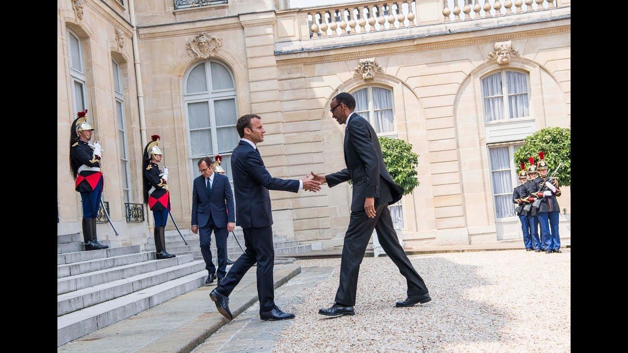 President Kagame meets with President Macron at Palais de l'Élysée