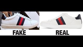 how to spot fake gucci ace trainers sneakers real vs fake comparison