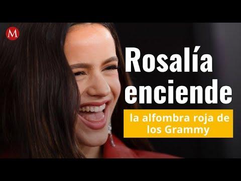 Rosalía enciende la alfombra roja de los Grammy con su extravagante vestido rojo