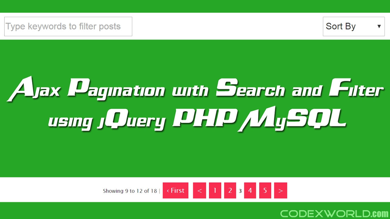 Ajax Pagination with Search and Filter in PHP - CodexWorld