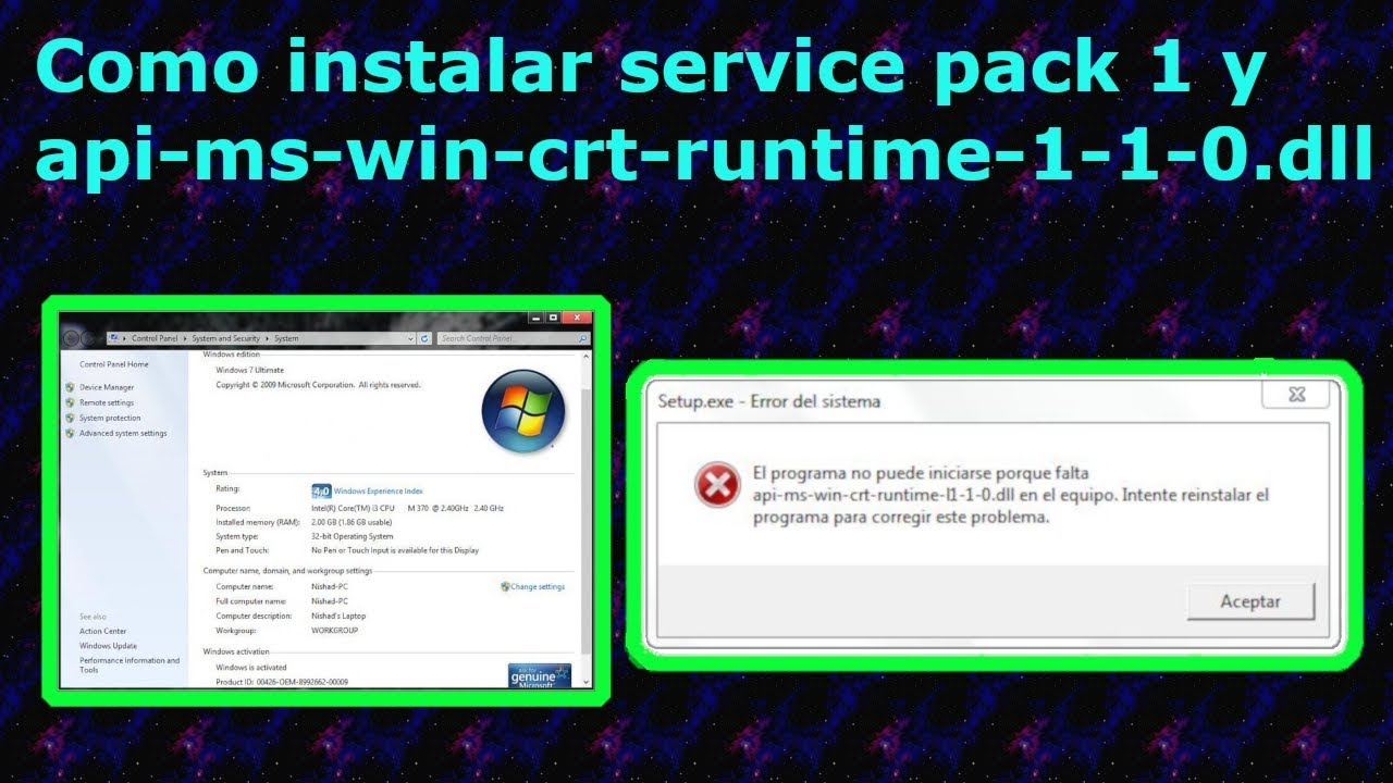 Como instalar service pack 1 y api-ms-win-crt…