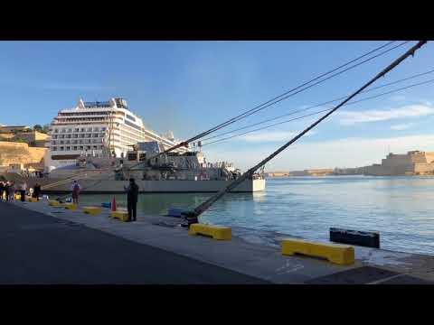 Warship in Valletta Malta Waterfront What Ship was this? MSC Meraviglia