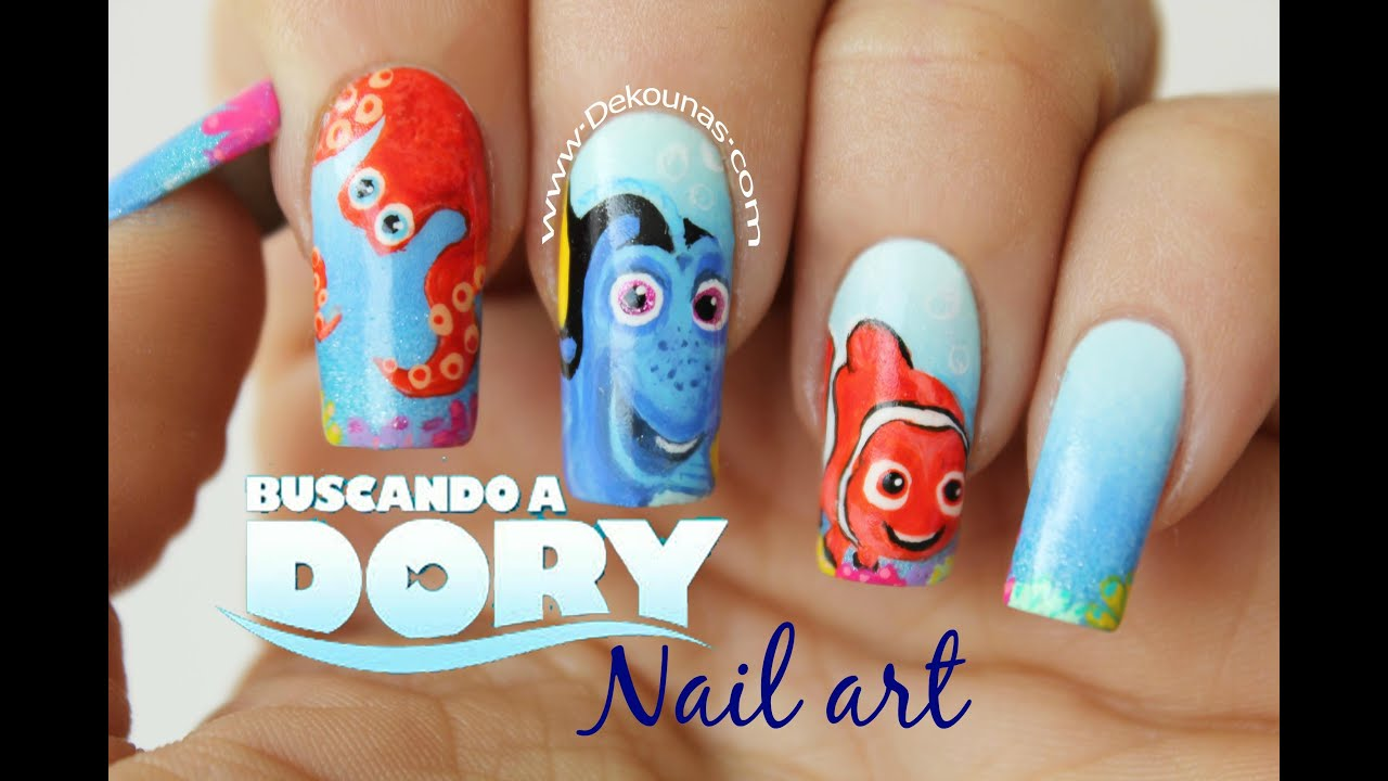 Decoraci n de u as buscando a dory finding dory nail art - Decorados de unas ...