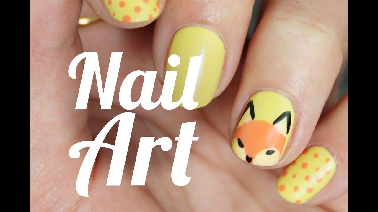 CUTE FOX NAIL ART DESIGN STEP BY STEP - YouTube