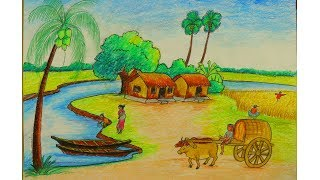 How to Draw Scenery of A Rural Life   Learn Drawing   How to Draw   Drawing Buzz