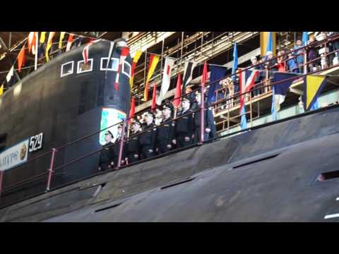 """Спуск на воду подводной лодки """"Комсомольск-на-Амуре"""". 2016 год. Амурский Судостроительный Завод."""
