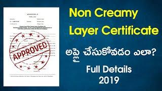 Non Creamy layer certificate in Telugu, how to apply Non creamy layer certificate in Telugu 2018
