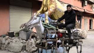 Check out this Chinese farmer riding his robot horse!