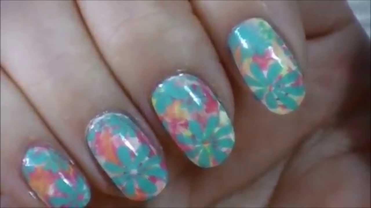multicolor marble & aqua flowers