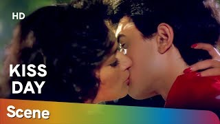 Madhuri Dixit & Amir Khan Kiss scene from 90's movie Blockbuster Dil - Valentine Special