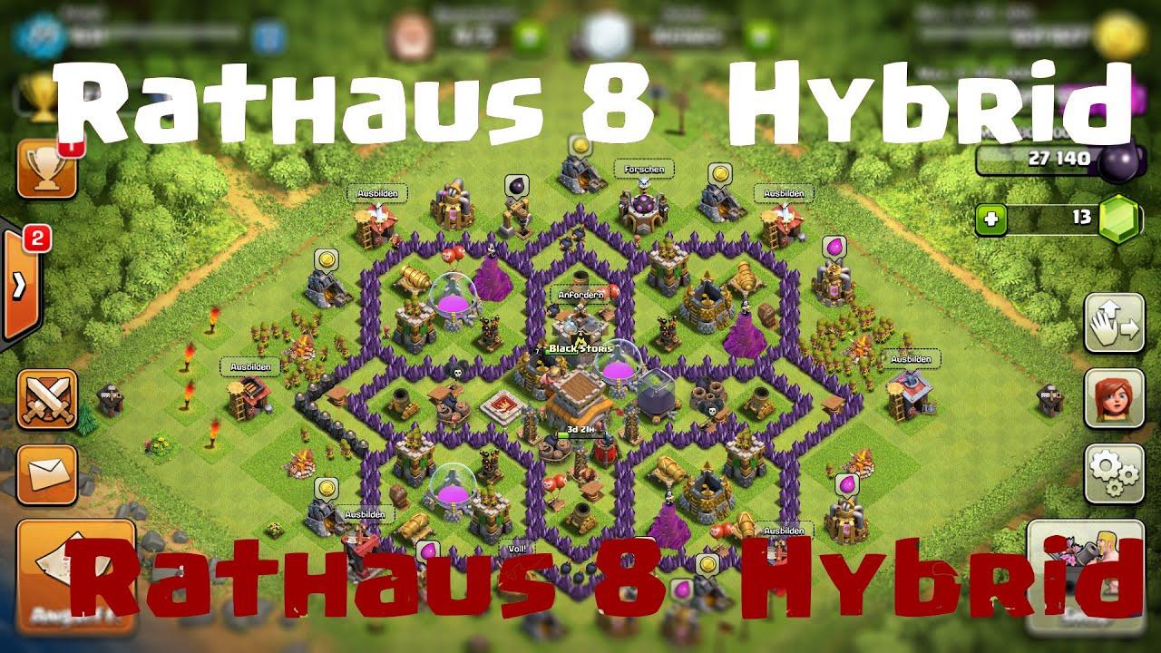 Best rathaus 8 hybrid base 2016 clash of clans deutsch german