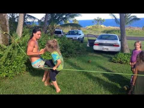 Kids & Adults Slacklining at Seaview Lawn @ Pahoa, Big Island Hawaii