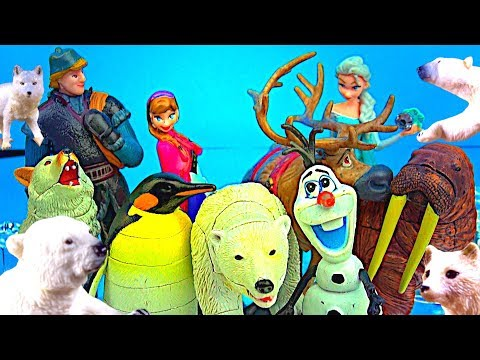 Learn Wild Animals! FROZEN Elsa Olaf 🐧 Penguins NEW Arctic Animals 4D Puzzles Polar Bears