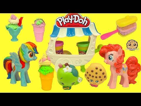 Play-doh Ice Cream Maker Cart Playset With Shopkins And My Little Pony - Cookieswirlc Video