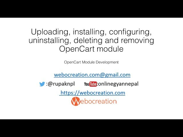 Uploading, installing, configuring, uninstalling OpenCart 3 module/extension