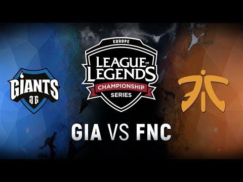 GIA vs. FNC - Week 9 Day 1 | EU LCS Spring Split |  Giants Gaming vs. Fnatic (2018)