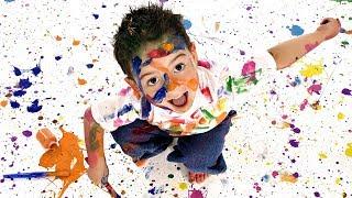 ИНТЕРЕСНО о способах нанесения масляной краски на холст разными предметами. Художник Ревякин.