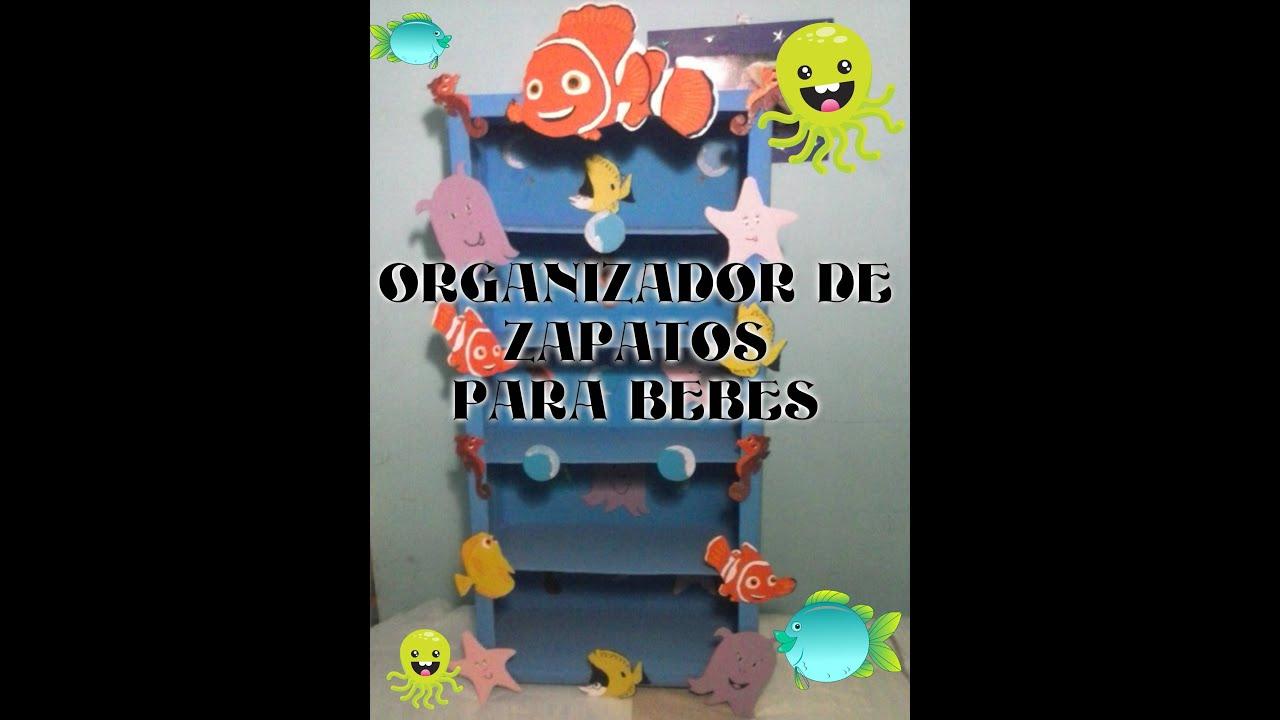 Manualidades organizador para zapatos de bebe youtube for Zapateros tela para colgar