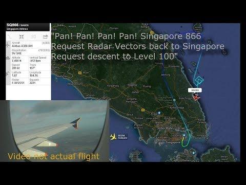 Pan! Pan! Emergency Singapore Flight 866 (Pilot Audio ATC) 9th May 2014 9V-SKE (Hair Raising Audio)