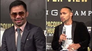 """KEITH THURMAN TRADES WORDS WITH PACQUIAO FANS WHILE MANNY LAUGHS OFF """"USELESS"""" RETIREMENT THREATS"""