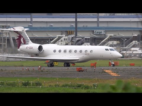 Qatar Executive Gulfstream G650ER A7-CGA Takeoff from NRT 16R