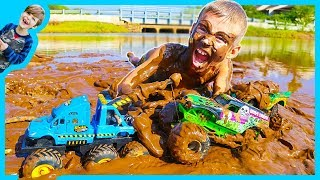 MONSTER Truck TOW Truck for Kids - Towing GRAVE DIGGER!