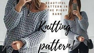 Вязание спицами /Пышный и простой  узор для пуловера  поворотными рядами/ Узор № 14