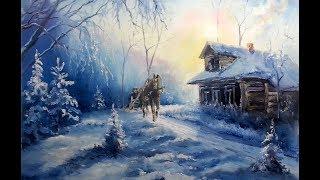 Как нарисовать мороз / Картина маслом / Январские морозы / Зимний пейзаж / Урок рисования