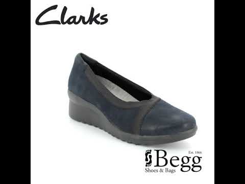 64e0598cd9d Clarks Caddell Dash D Fit Navy Wedge Shoes - YouTube