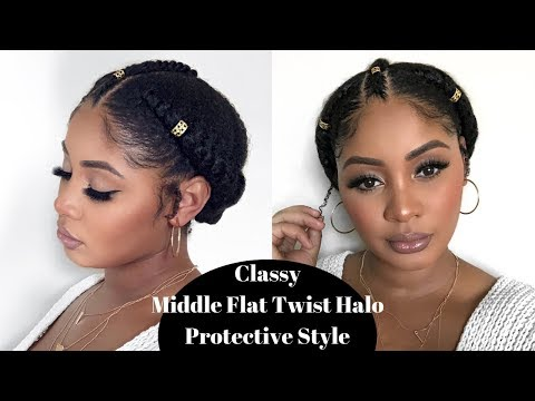 Quick Natural Hair Protective Style | Flat Twist Halo Updo w/ Middle Twist