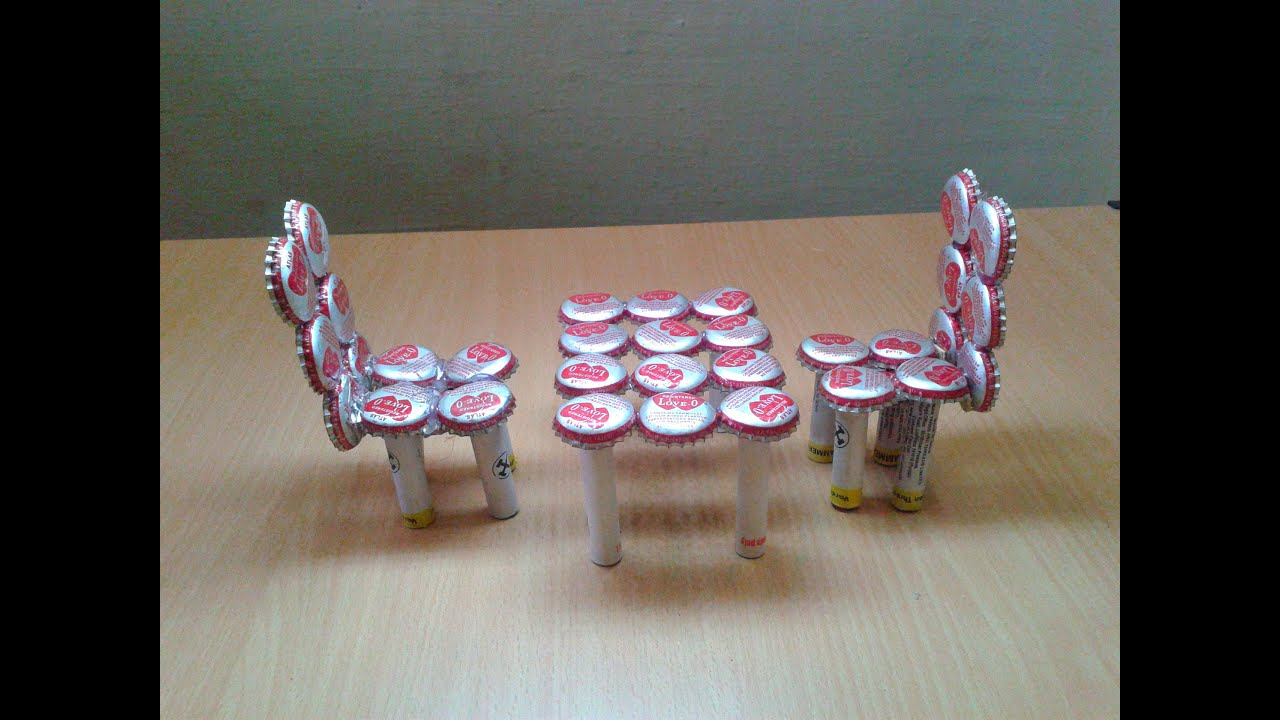 Make miniature table chairs from waste bottle caps for Waste to wealth craft ideas