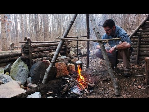 Bushcraft Camp: Billy Pot Soup, Adirondack Lean-To & My Struggles