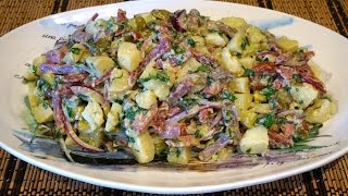 Картофельный салат с копченым мясом_Potato salad with smoked meats