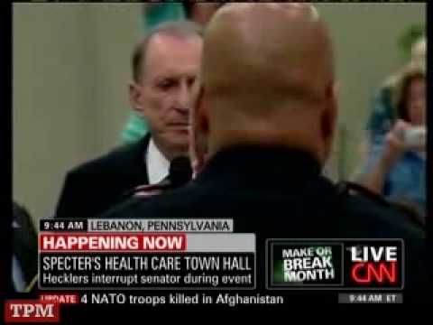 Protest Erupts at Arlen Specter Town Hall Meeting 08-11-09