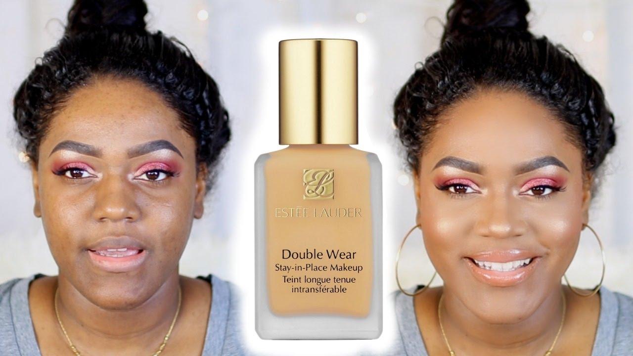Estee Lauder Double Wear Foundation Review Demo Dark Skin Youtube