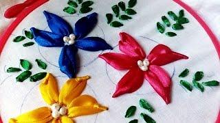 How to make Satin Ribbon Flower- Bullion Lazy Stitch Embroidery