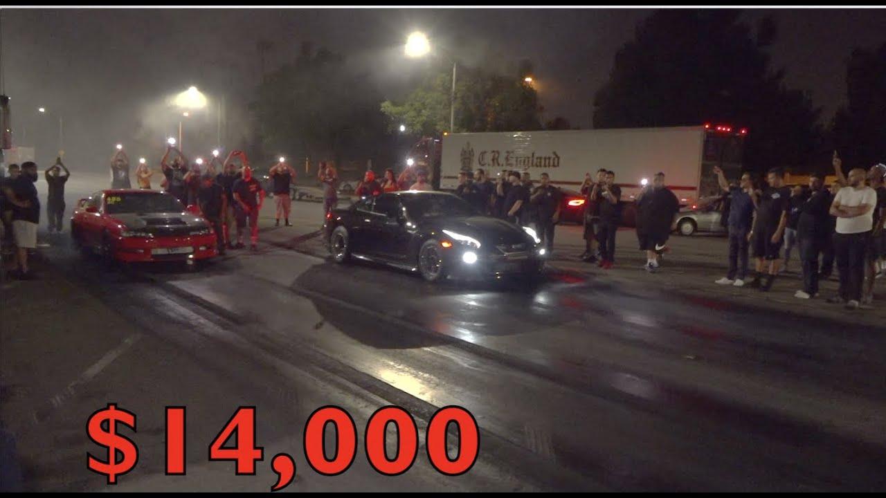 (The Rematch) Nissan GTR vs 240sx $14,000 Street Race