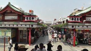 東京 浅草 雷門 仲見世 浅草寺本堂を歩いて撮影 kaminarimon gate nakamise street senso ji temple asakusa in tokyo