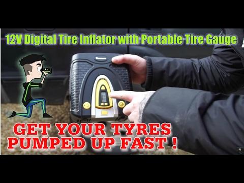 TechChecker #139 NAVISKAUTO 12V Digital Tire Inflator with Portable Tire Gauge