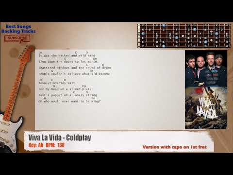 Viva La Vida - Coldplay Guitar CAPO Backing Track with chords and ...