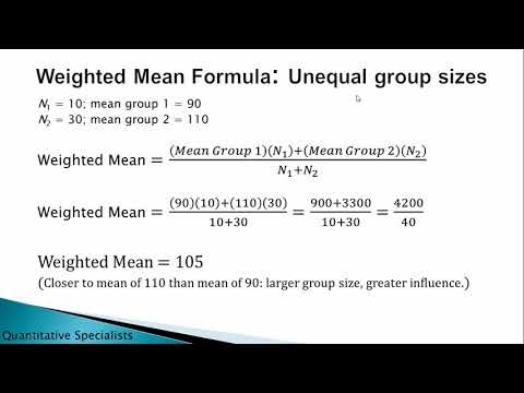 How to Calculate the Weighted Mean; Weighted Average; Overall Mean