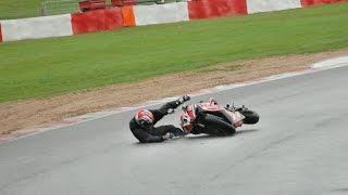 Snetterton 300 superbike motorbike track day onboard Yamaha R1 Crash fail 13/10/13