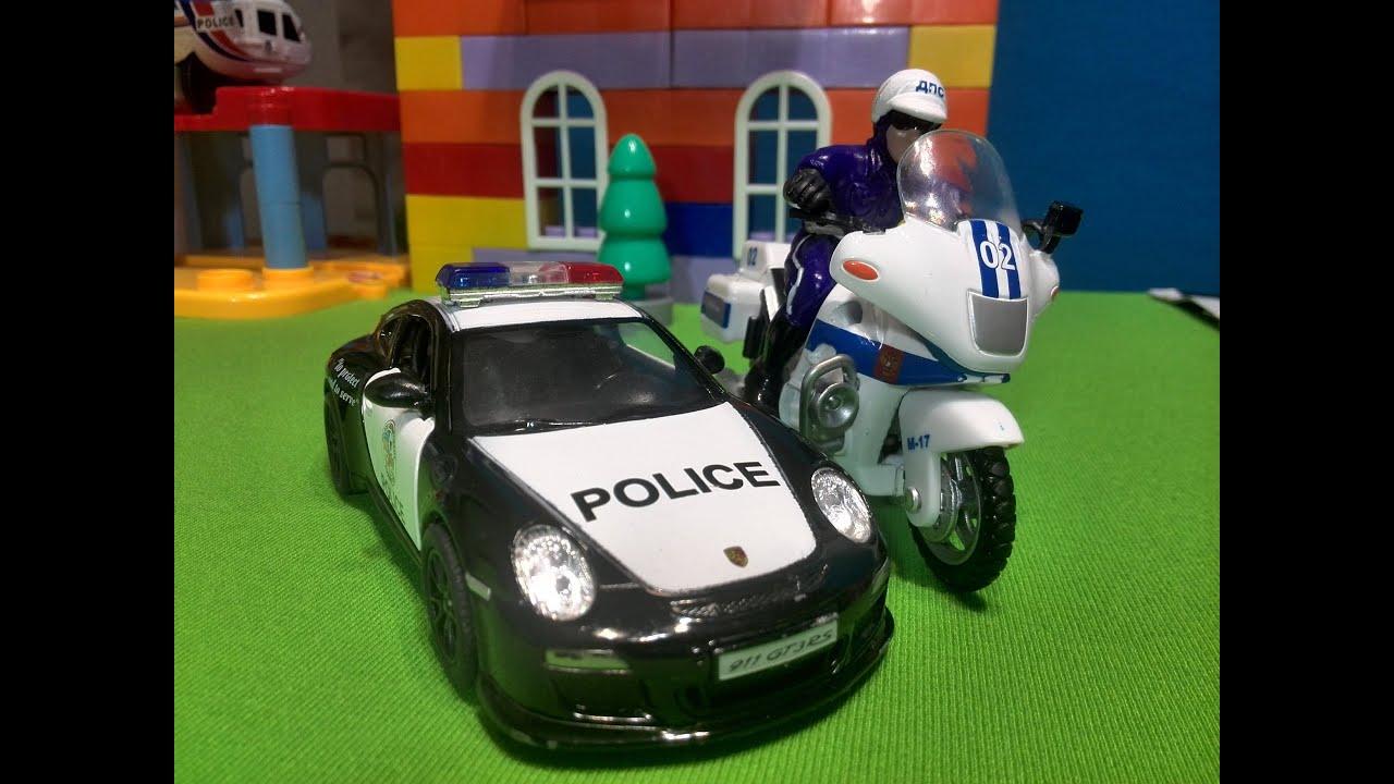 Мультики про полицейские машинки. Мультики для детей. Угон бетономешалки - воровать нехорошо.