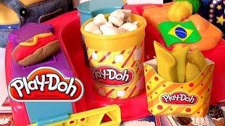 play doh comidinhas de cinema em casa playset brinquedos hasbro play dough poppin movie snacks