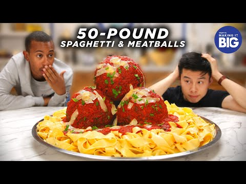 I Made Giant 50-Pound Spaghetti And Meatballs For Kalen Allen from Kalen Reacts Tasty