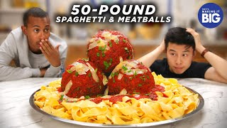 I Made Giant 50-Pound Spaghetti And Meatballs for Kalen Reacts Tasty