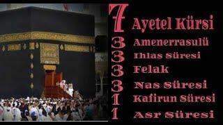 7 Ayetel Kürsi, 3 Amenerrasulü, 3'er İhlas Felak Nas,1'er Kafirun ve Asr Sureler